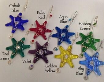 Cyber Monday Sale / HANDmade Fused Glass Stars / Set of 3 / Rainbow Colors / Garden Decorations / Gift Wrap Decoration  / Suncatcher / Fairy