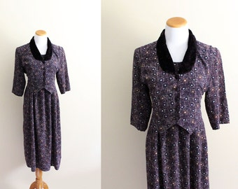 vintage dress 1980s eggplant purple womens clothing print velvet collar 1950's size medium m