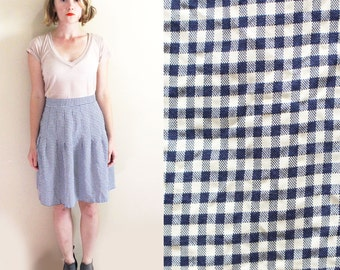 vintage skirt 1980's womens clothing gingham blue white high waisted drop pleat size m l medium large