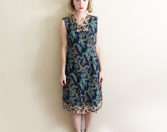 vintage dress 1960's womens shift balinese clothing navy blue sleeveless print size s small