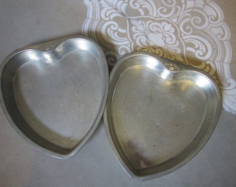 2 vintage BAKE KING heart shaped pans - baking pans, cake pans