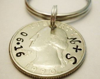 25th Anniversary Gift: 1993 QUARTER Keychain; Personalized Silver 25th Wedding, Man Her Couple, 25 Year Birthday, Custom Initials Date, 1992