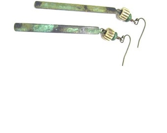 Verdigris Recatangles with Turquoise and Ivory Earring