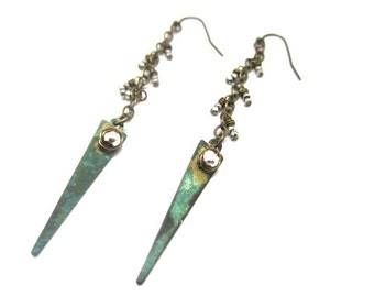 Verdigris Daggers with Pyrite Earring