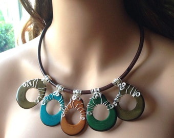 Wire Wrapped Tagua Statement Necklace