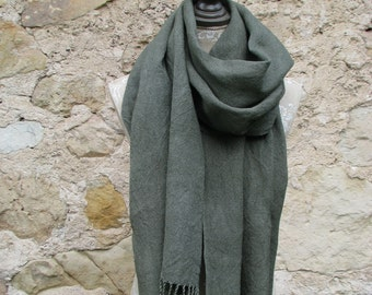 Handwoven Linen Dark Olive Scarf (Shawl)- Pure Linen , Hand Dyed Scarf, Hand woven linen, dark green shawl, scarf for him, scarf for her