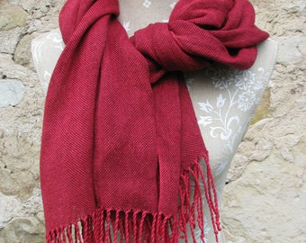 Handwoven Linen Flax Maroon, Deep red Scarf (Shawl)- Pure Linen