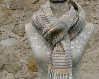 Handwoven Linen Flax Green, Yellow and White Striped Scarf (Shawl)- Pure Linen