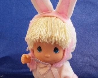 Precious Moments Hi Babies Bunny Doll, Enesco Doll Figure Rabbit Suit 1994, Vintage Precious moments Easter Bunny Doll, Doll in Bunny Pajama