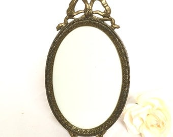 Brass Metal Oval Picture Frame with Bow Made In Italy