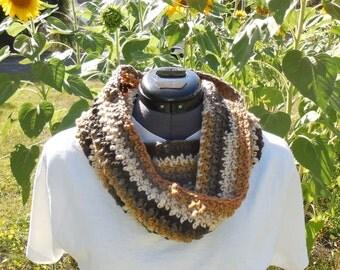 Textured Cowl Scarf, Crochet Loop, Neck Warmer Scarf, Beachwood Stripes