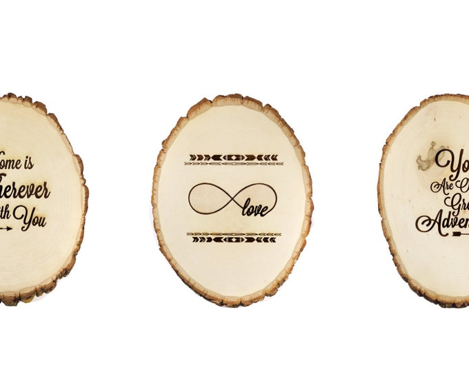 Tree slice Nursery Decor-Set of three wooden plaques
