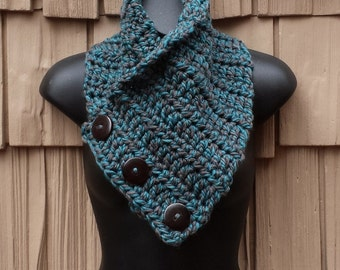 Blue Gray Chunky Scarf Wrap, Crochet Cowl Knit Scarf Button, Scarf Chunky Snood Boston Harbor Scarf, Chunky Scarf Wrap Cowl Ready to Ship