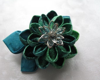 Of Greens and Blues in All Their Hues Kanzashi Flower Hair Clip