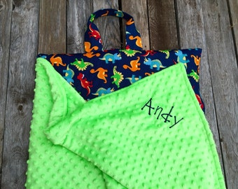 Kindermat Nap Mats cover with attached personalized Minky Blanket