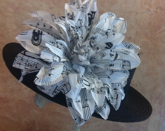 Music Lovers Hat - Black Hat with Sheet Music Flower -