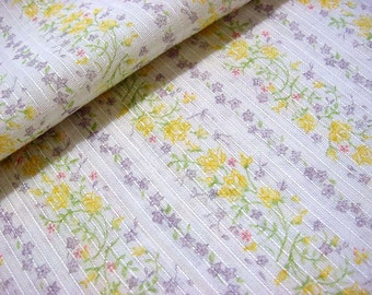 Sweetest Vintage 60s 70s Dimity Fabric with Little Yellow Roses, Pink Lavender Daisy Flower Stripes - Great for Doll, Baby & Toddler Clothes