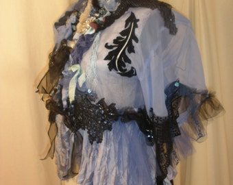 Elegant Jacket Periwinkle Lane Art to Wear Cinderella Hippie Boho with Vintage Lace Marie Antionette and My Artwork