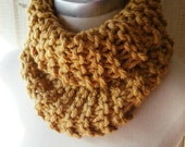 Amber Cowl Scarf, Knit, Neckwarmer, Infinity Scarf, Eternity Scarf, Loop, Mobius, Circle Scarf, Gold, Mustard