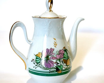 China Teapot Coffee Pot - Floral Hand Painted Soviet Tea Pot - 1980s - from Ukraine USSR