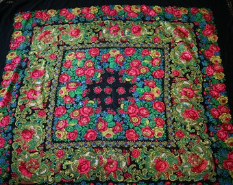 """Vintage Large Russian Shawl Head Scarf with Tassels - Floral - Roses on Black - Wool - 55"""" inches - From Ukraine Russia Soviet Union / USSR"""