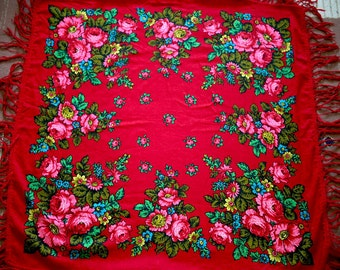 """Russian Head Scarf Shawl Vintage Pink Roses on Red Floral - Wool - 37"""" inches - From Russia Soviet Union USSR"""