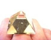Glowing Crystal Pyramid Ring