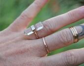 Double Tourminated Tourmalinated Quartz Gold Filled Ring size 4.5