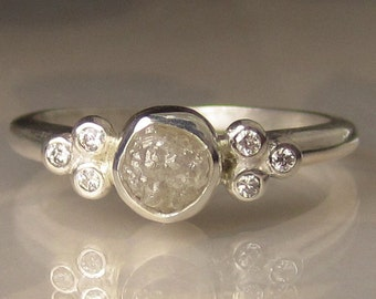 Raw Engagement Ring, White Raw Diamond Ring, Rough Uncut Conflict Free Diamond - sz 6.25