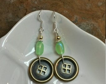 Green and Gold Button Sterling Silver Earrings, Gold Button Earrings, Green Gold Button Sterling Silver Earrings, Gold Button Earrings
