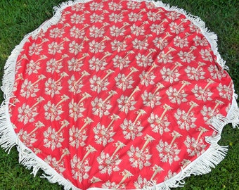 Vintage Round Table Cloth W/ Fringes, Pat Freund Design For P Kaufmann  Screen Printed