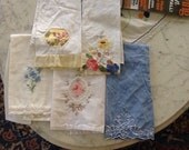 Group of Embroidered Hand Towels Flowers Floral 5 mix and match Embroidery