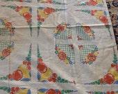 Mid-century Feedsack Fabric Cotton Fruit Flowers Tablecloth Retro