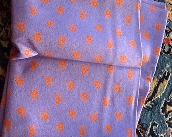 Vintage Fabric Purple Orange Flowers Print Upholstery