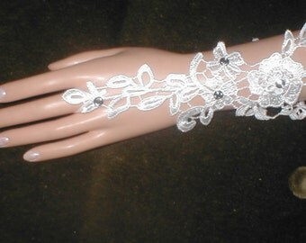 Fingerless Bridal Gloves Gauntlets