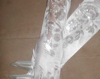 Vintage Beaded Satin Bridal Gloves white OR ivory