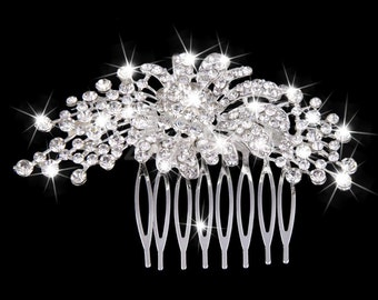 Vintage Rhinestone Hair Comb Hair-Brooch Bridal