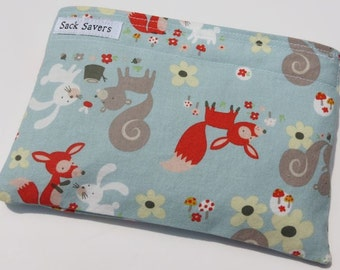Reusable Sandwich and/or  Snack Bag Little Friends Squirrels Rabbits Woodland