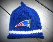 NEW ENGLAND PATRIOTS Hand Knit Baby Hat - Boston Baby Hat - Hand Knitted Baby Hat