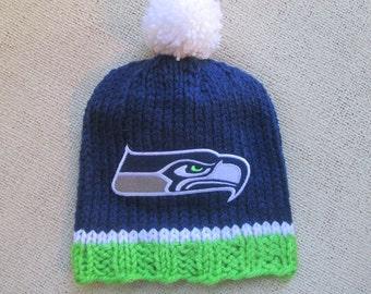 SEATTLE SEAHAWKS Hand Knit Baby Hat, Seattle Baby Hat, Hand Knitted Baby Hat, Baby Football Hat, Seahawks Baby Hat