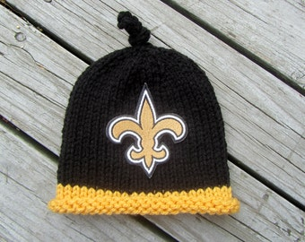 NEW ORLEANS Saints Hand Knit Baby Hat - Football Baby Hat - Hand Knitted Baby Hat