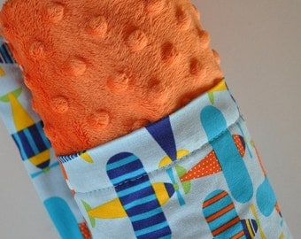 XLARGE, Baby Boy Infant Toddler Snuggle Size Minky Blanket, Airplanes and Bright Orange Minky