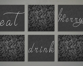 "Eat Drink And Be Merry Home Decor Art | 6 canvases 12x12"" Each"