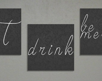 "Eat Drink Be Merry Home Decor Art | 3 canvases 8x8"" Each"