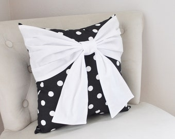Throw Pillow White Bow on Black and White Polka Dot Pillow 14x14 - Halloween Pillow -