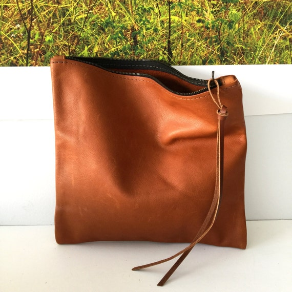 small Brown Leather Clutch , Cognac Brown Foldover Clutch , Leather Cosmetics Zipper Pouch