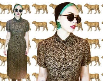 90's leopard print grunge maxi dress s / m SILK