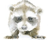 Baby Raccoon Watercolor Painting 8 x 10 - 8.5x11 Fine Art Giclee Reproduction - Woodland Animal Art Print