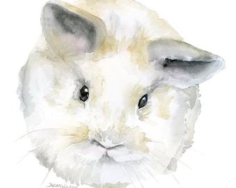 Watercolor Painting Baby Bunny Rabbit - 8 x 10 - Gray Nursery Art - 8.5 x 11 - Giclee Print