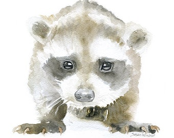 Baby Raccoon Watercolor Painting 8 x 10 - 8.5x11 Fine Art Giclee Reproduction - Woodland Animal Art Print